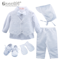 Gooulfi Baptism Boy Outfit Baby Long Sleeve Romper Bow Toddler Baptism Clothes Christening Baptism Outfits Fashion