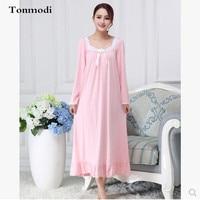 Nightdress For Women Long sleeve nightdress Pink Modal Sleepwear Womens sleep nightshirt