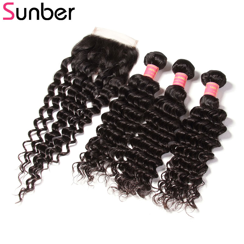 Sunber Hair Brazilian Deep Wave 3 Bundles With Closure,Natural Black Human Hair Bundles With Closure 4X4 Inches Can Be Dyed