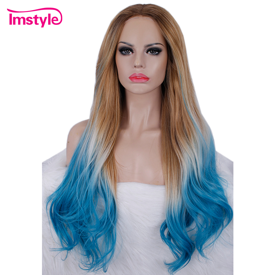 Imstyle Ombre Brown Blue Wig Synthetic Lace Front Wig Long Wavy Wigs For Women Heat Resistant Fiber Glueless Cosplay Wig