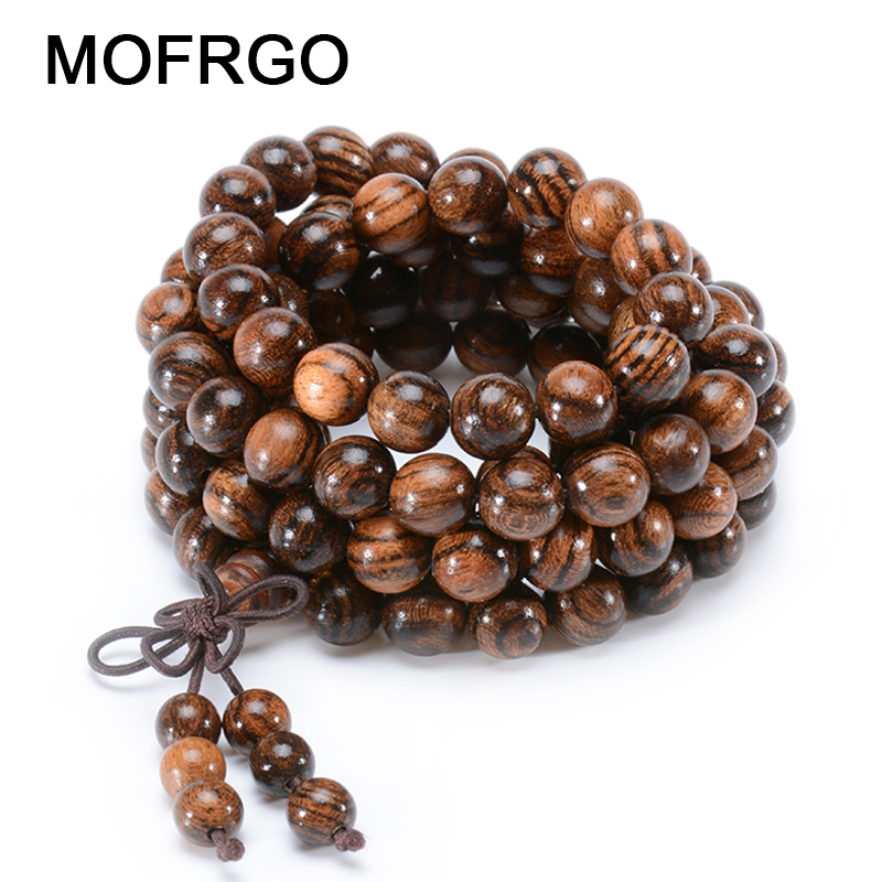 MOFRGO Natural Bocote Multilayer Vintage Men Bracelet 108 Beads Buddha Prayer Charm Bracelets For Men And Women Wood Jewelry