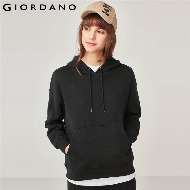 Giordano sweat à capuche pour femme femmes sweat polaire doublure ample kangourou sweat à capuche poche manches longues décontracté Sudaderas Mujer