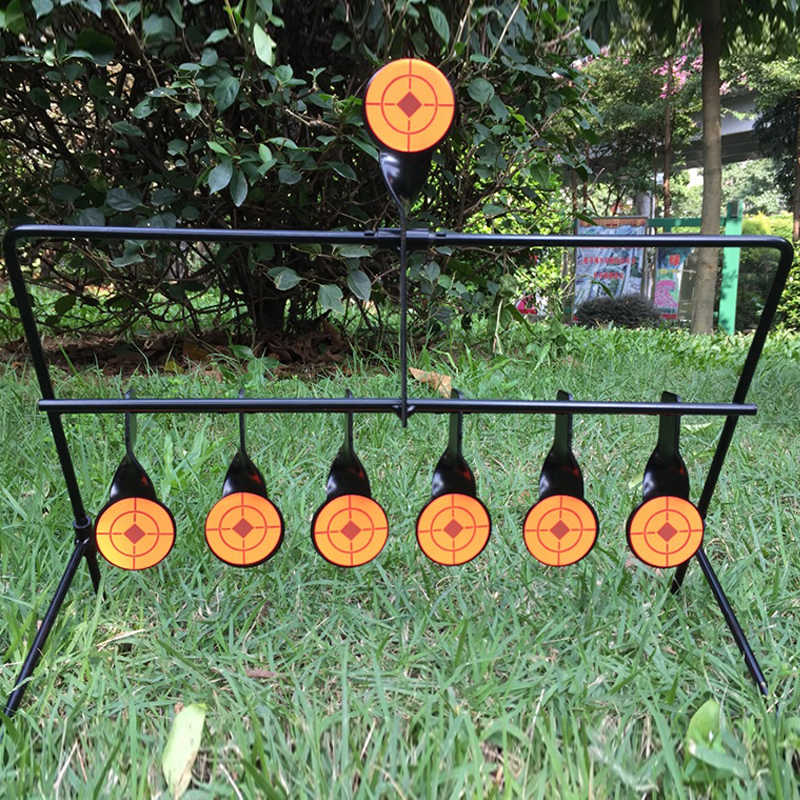 7 Targets Self Resetting Spinning Shot Target Metal For Slingshot / Airgun Air Rifle /Paintball Hunting Shooting Tactical Skill