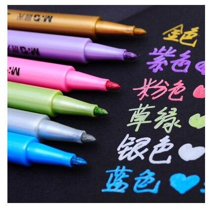 QSHOIC 6 PCS / lot úsvit krása kovová barva značka Barva na inkoust na bázi stříbra zlato barvy pero Rychlé suché značky