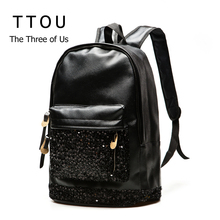 Fashion Women Backpack Big Crown Embroidered Sequins Backpack Wholesale Women PU Leather Backpack School Bags New