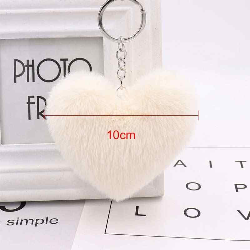 Nova 10 CENTÍMETROS Faux Rabbit Fur Bola Coração Chaveiros Para Mulheres Bolsa Pingente Chave Do Carro Anel Jóias Acessórios