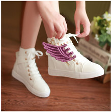 2 Pairs Boys Girls Kids Foil Shoes Sneaker Angel Wing Shoes Accessory Pink + Black цена и фото