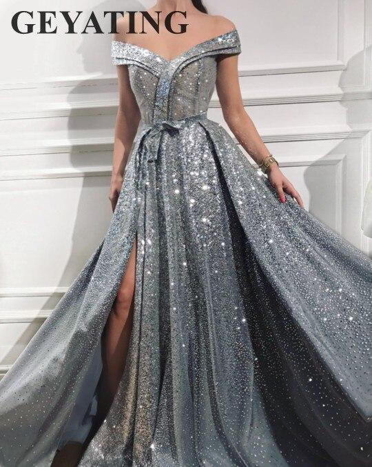 Élégant Off Épaule Argent Gris robes de bal 2019 tenue de fête Scintillant Paillettes robe de cérémonie pour femme Longue de Soirée robe de fête