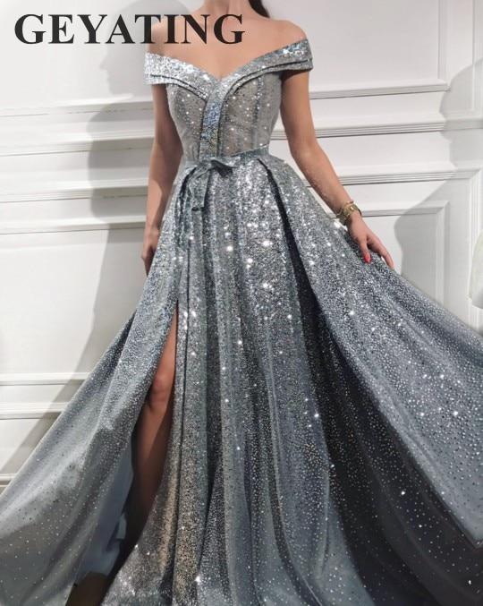 Elegant Off Shoulder Silver Grey Prom Dresses 2018 Vestido de festa Sparkly Sequined Women Formal Dress Long Evening Party Gowns