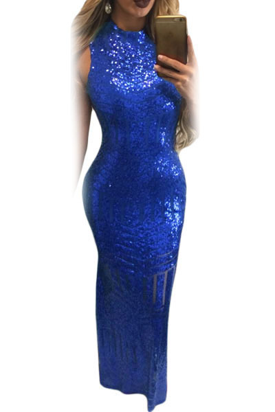 Emerald Green Sparkly Shiny Sequins Keyhole Back Party Gown 2017 Fashion Full length Mermaid Fishtail Women's Occasion Dresses