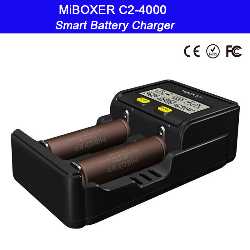 2 slots Intelligent LCD Screen Battery Charger for Li-ion/Ni-MH/Ni-Cd/LiFePO4 18650 26650 rechargeable batteries;Miboxer C2-4000 2 slots intelligent lcd screen battery charger miboxer c2 4000 for li ion ni mh ni cd lifepo4 18650 26650 rechargeable batteries