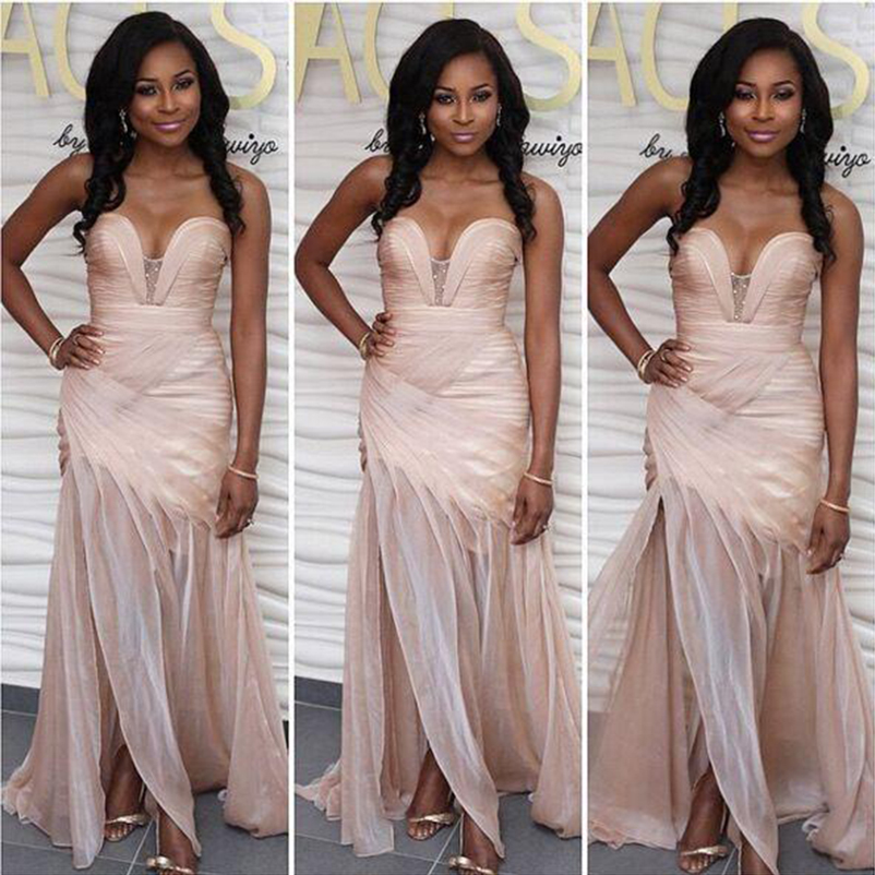 Mermaid boho   Bridesmaid     Dresses   Pleats Side Slit Sexy Maid Of The Honor Prom Gowns African Formal Occasion Wear 2018 Custom Make