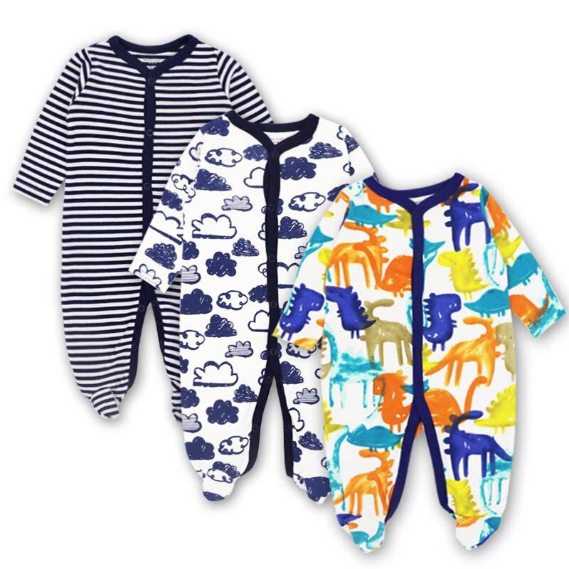 3 Pcs/lot Baby Romper Long Sleeves 100% Cotton Comfortable Baby Pajamas Cartoon Printed Newborn Baby Boy Girl Clothes