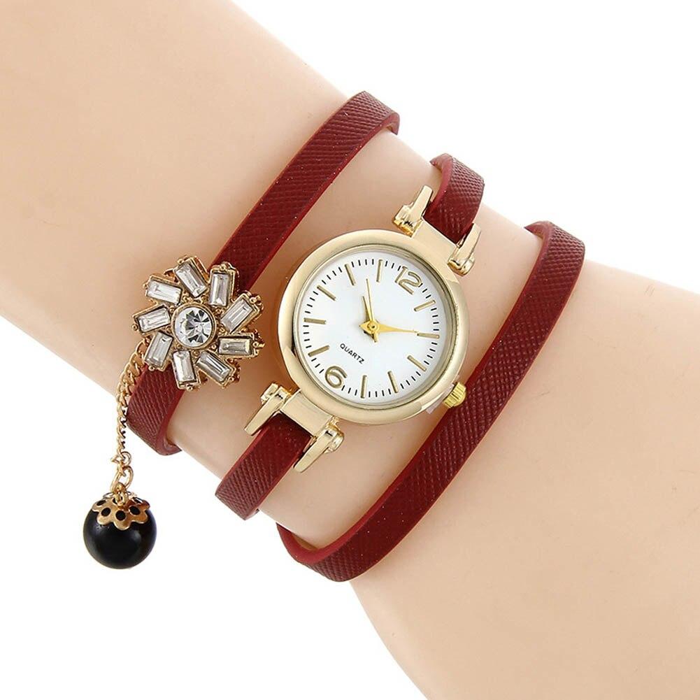 Women Bracelet Watches Multilayer Wraps PU Leather Strap Analog Quartz Watch Flower Crystal Clock Girl Casual Wristwatch LL@17
