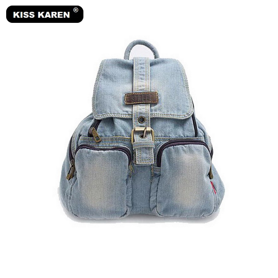 KISS KAREN Fashion Women Backpacks Denim Bag Vintage Retro Backpacks Jeans Travel Backpack Bags Preppy Style Casual Daypacks faux leather fashion women backpacks vintage casual daypacks shoulder bags travel bag free shipping