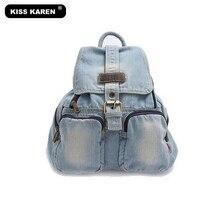 KISS KAREN Retro Vintage Fashion Denim Women Backpack Trendy Girls Jeans Backpacks Travel Backpack Bags Preppy