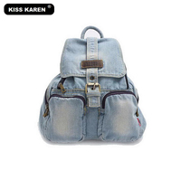 6a6112534d KISS KAREN Fashion Women Backpacks Denim Bag Vintage Retro Backpacks Jeans  Travel Backpack Bags Preppy Style