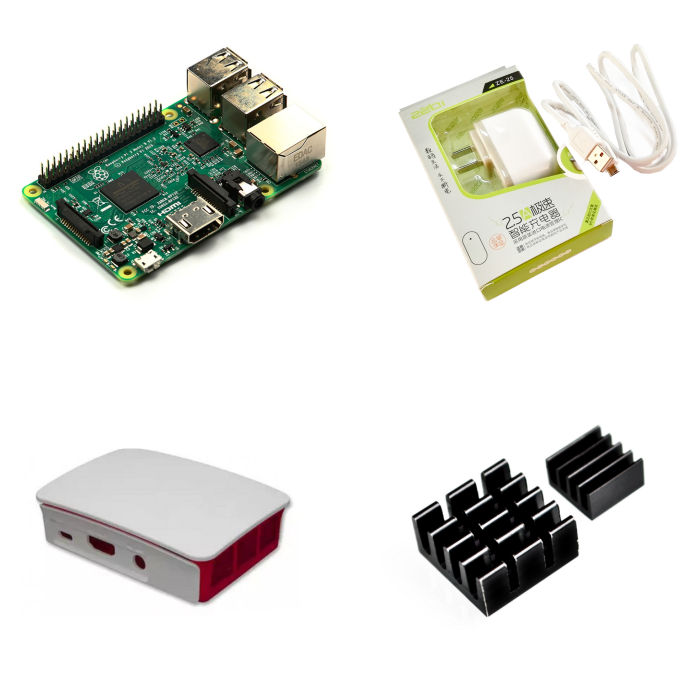 2018 Raspberry Pi 3 Model B With Built-in wireless and Bluetooth connectivity+Power Supply+Official Case + 2pcs Heatsink kit2018 Raspberry Pi 3 Model B With Built-in wireless and Bluetooth connectivity+Power Supply+Official Case + 2pcs Heatsink kit