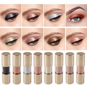 Image 3 - MISS ROSE 8 kolor metalowy cień do powiek Shimmer ciepłe kolory wodoodporny połysk z wzorem pojedynczego oka cień płyn matowy makijaż cień TSLM2