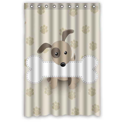 Nice Designed Fabric Bathroom Curtain Personalized Label Shaped Bone In The  Mouth Of The Dog