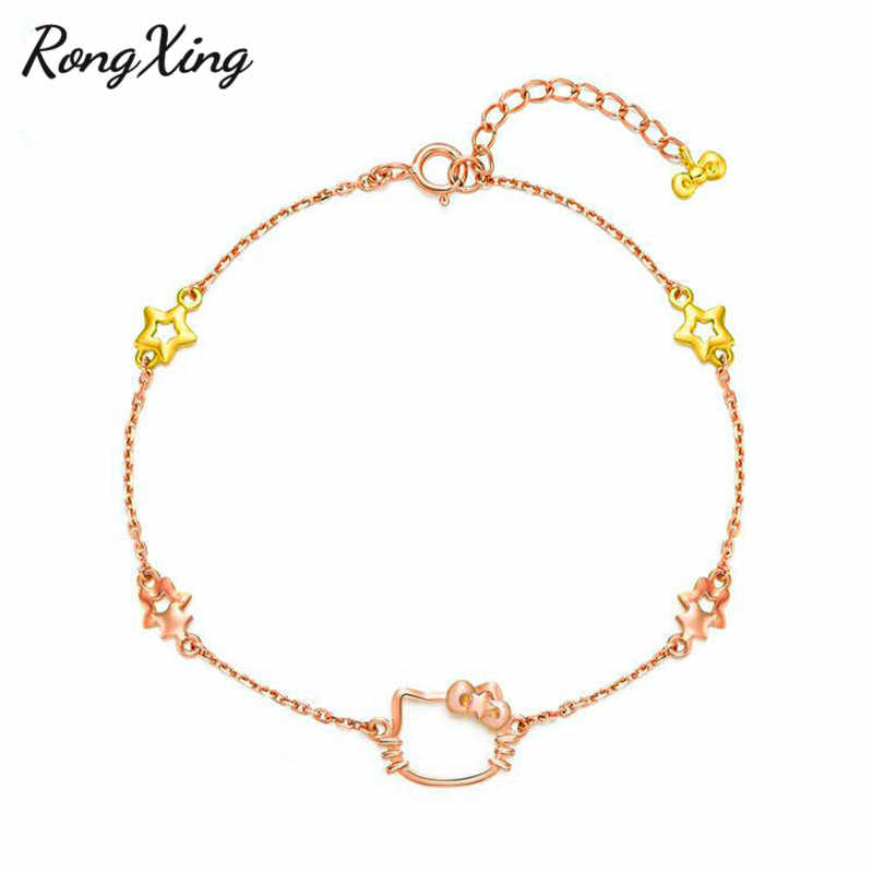 18d80053b Detail Feedback Questions about RongXing Colorful Metal Yellow Star Charm  Bracelet Rose Gold Filled Lovely Hello Kitty Cat Bracelets For Women  Girlfriend ...