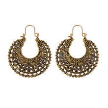 Gold Silver Vintage Bohemia Zinc Alloy Stainless Steel Crystal Rhinestone Round Geometric Feather Hoop Earrings for Women
