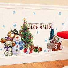 christmas window stickers vinilos decorativos wall stickers home decor living room adesivo de parede christmas decorations for h