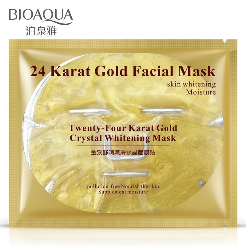 Bioaqua 24 24k ゴールドコラーゲンフェイスマスククリスタルゴールドコラーゲンフェイシャルマスクマスク保湿美白アンチエイジングスキンケア韓国マスク  グループ上の 美容 & 健康 からの トリートメント & マスク の中 1