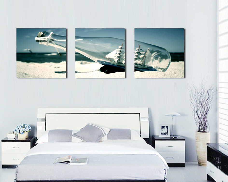 Nice Art For Living Room Decor Grey And Blue 3 Panels Home Decoration Painting Hd Wall Picture On Canvas Prints Pictures Paints Wishing Bottles