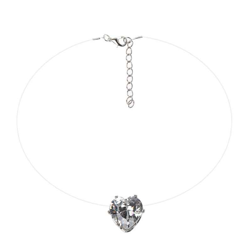 Invisible Heart Cubic Zirconia Stone Pendant Necklace Clear Fishing Line Chokers Necklace Birthday Gifts