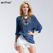 FROMMAZZ Brand New Casual Women T-Shirts Casual Floral Round Neck Chiffon V Neck Half Sleeve Dip Hem Loose Top FS16018