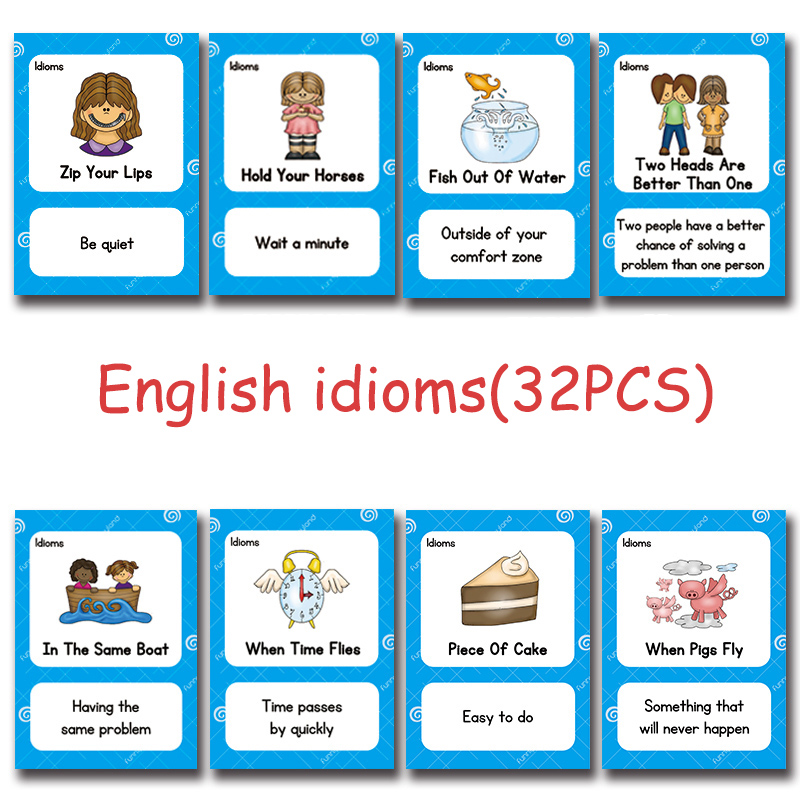 English Proverb Idioms Montessori Toys Learn English Pocket Card for Children Learning Educational English Word CARDS for Kid pocket idioms dictionary