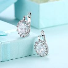Cute Romantic Crystal Hoop Earrings 925 Silver Stone Women Earrings Jewelry Wedding Design Earring Gifts glitter design hoop earrings
