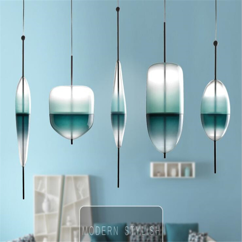 Modern Home Decoration Dining Room Pendant light Gradient Lake Blue Color Glass Light Cafe Bar Light Studio Light Free Shipping купить