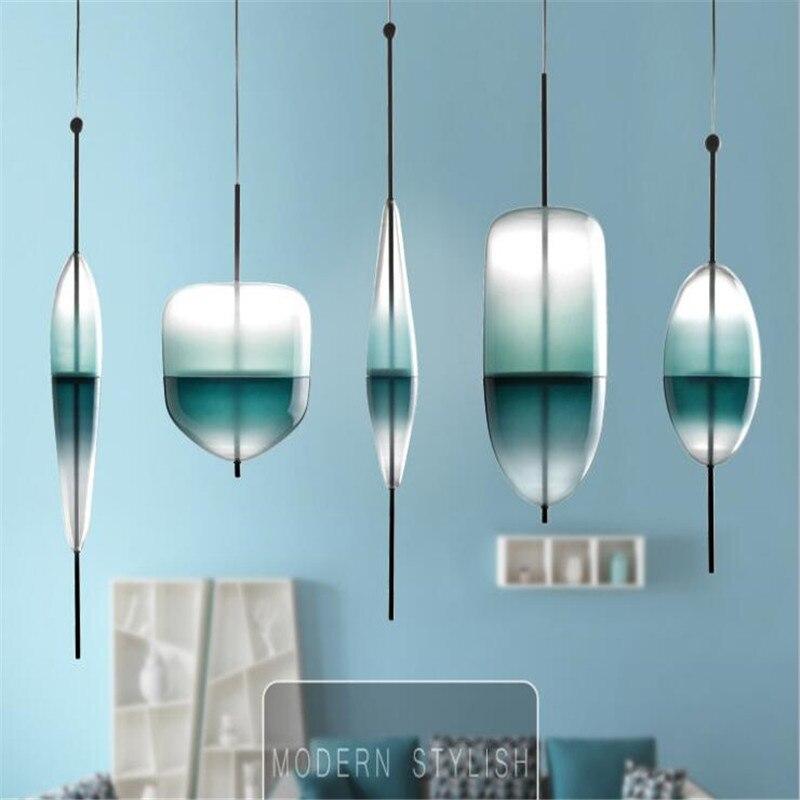Moderne décoration de la maison salle à manger pendentif lumière dégradé lac bleu couleur verre lumière café Bar lumière Studio lumière livraison gratuite