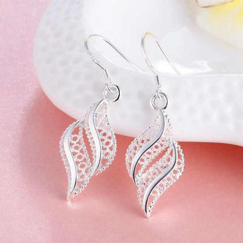 New Fashion 2019 Vintage Women Drop Earrings Hollow Dangle Long Earring Silver Color Trendy Jewelry