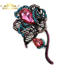 Vintage Large Pink Teardrop Stone Deco Black Filigree Rose Brooches Long Stem AB Crystal and Teal Blue Statement Pins