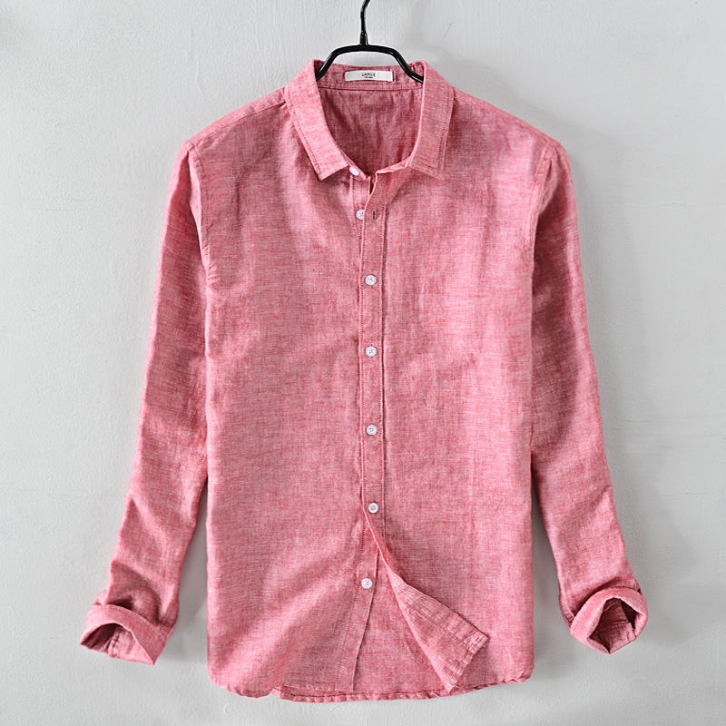 New brand long-sleeved linen shirt men solid coral red shirt mens spring autumn solid cotton shirts male designer chemise homme