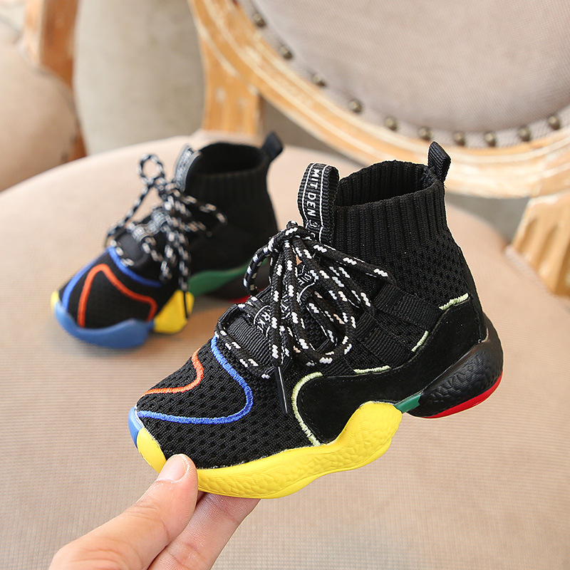 Autumn 2018 Toddler Boys Girls Hot Sock Sneakers Little Kid High Top Knit  Booties Big Children Fashion School Brand Sport Shoes-in Sneakers from  Mother ... c1c11cb83911