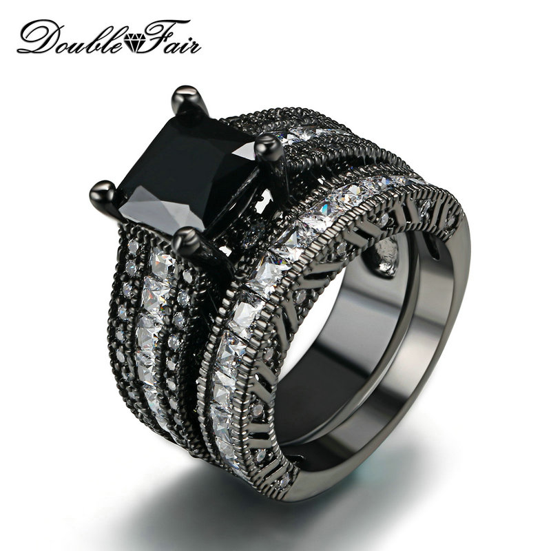 Top Quality Square Cut Black Nano & Clear Crystal Rings Sets Cubic Zirconia Black Gold Color Fashion Brand Women Jewelry DFR627