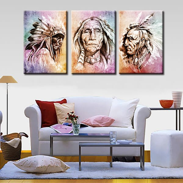 Hd Print 3 Pcs Canvas Wall Art Native American Chiefs Rhaliexpress: Native American Paintings For Living Room At Home Improvement Advice