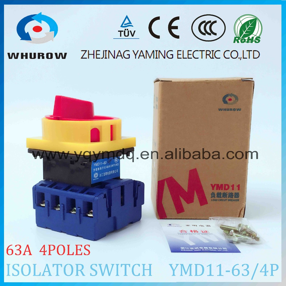 Isolator switch YMD11-63A 4P load break switch universal power cut off switch on-off changeover cam switch 8 sliver contactsIsolator switch YMD11-63A 4P load break switch universal power cut off switch on-off changeover cam switch 8 sliver contacts