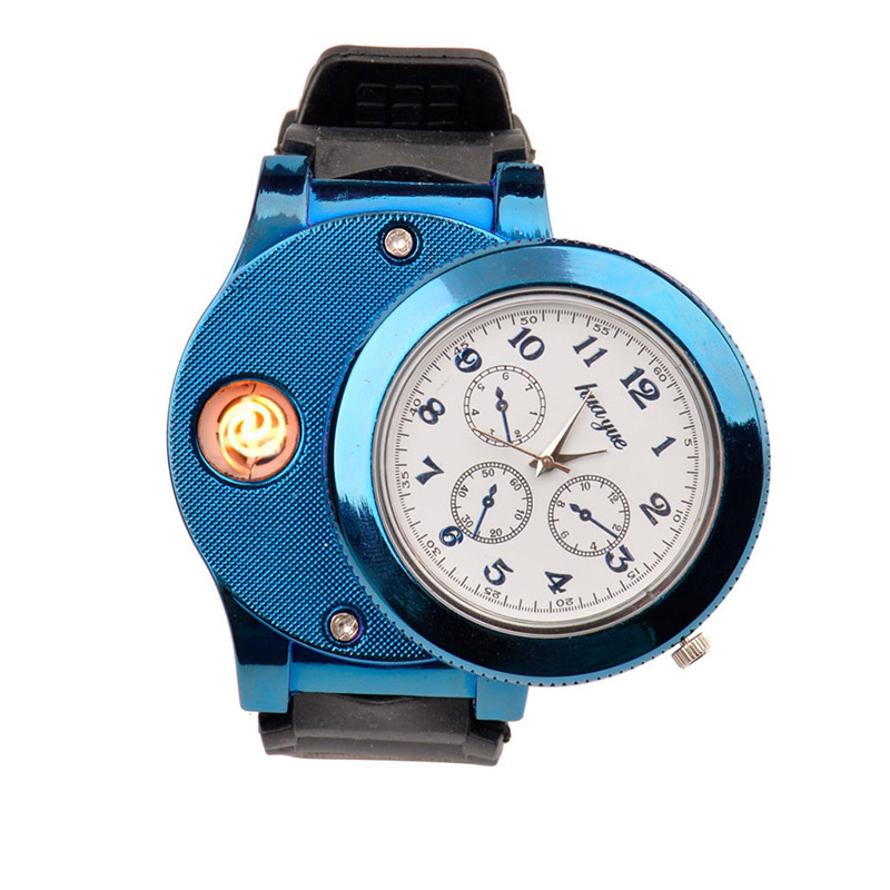 цена на Fashion Rechargeable USB Lighter Watches men Electronic Men's Casual Quartz Wristwatches Windproof Flameless Cigarette Lighter27