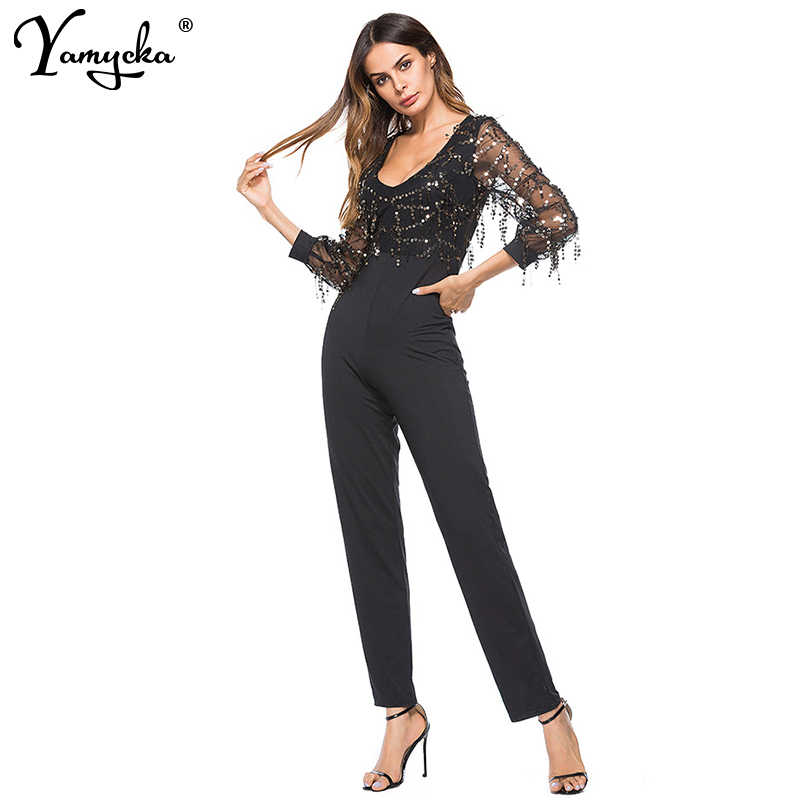 cd164a74a8 Sexy Women V-neck Sequins Body Rompers Womens Jumpsuit 2019 Summer Mesh  Long Sleeves Tassel