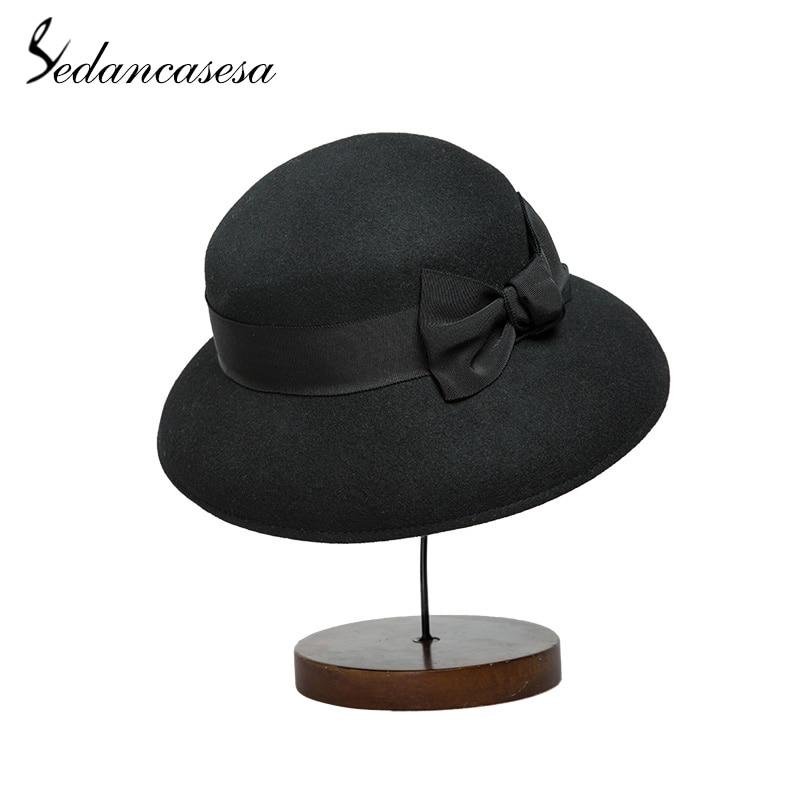 a8989f697b052 ... Sedancasesa Elegant 100% Australia Wool Fedoras Felt Hat Handmade  Bowknot Warm Bowler Winter Floppy Ladies ...