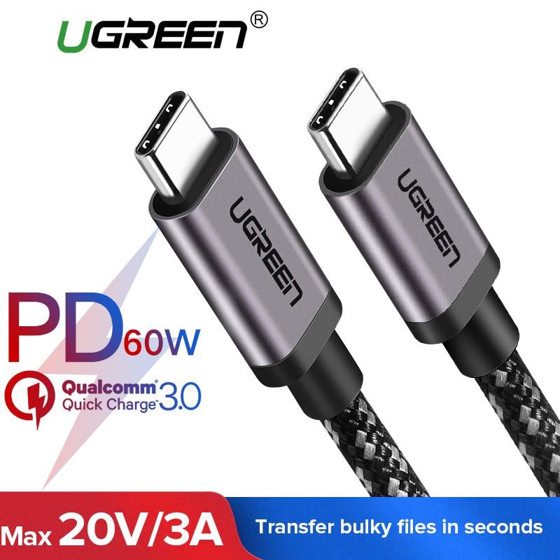 Ugreen 3A USB Tipo C para C USB Cabo para Samsung Galaxy Nota 9 S9 USB-C PD 60 W Rápida USB 3.1 Cabo de carga Tipo C Cabo para Macbook