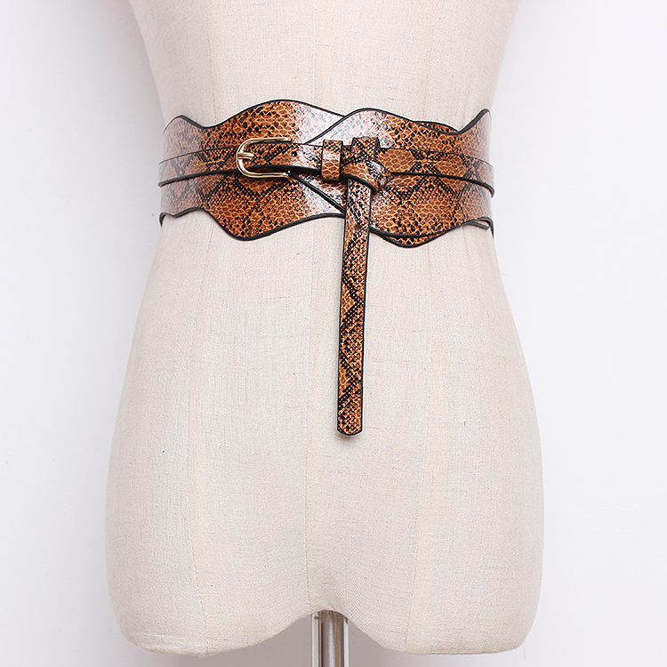Women's Runway Fashion Snake Skin Print PU Leather Cummerbunds Female Dress Corsets Waistband Belts Decoration Wide Belt R1361