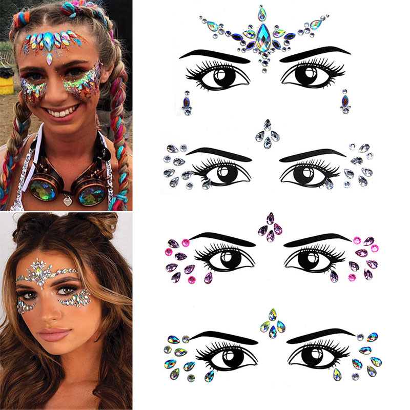 Temporary Rhinestone Women Glitter Tattoo Stickers Face Jewels Nightclub Party Makeup Body Jewels Flash Beauty Makeup Tools