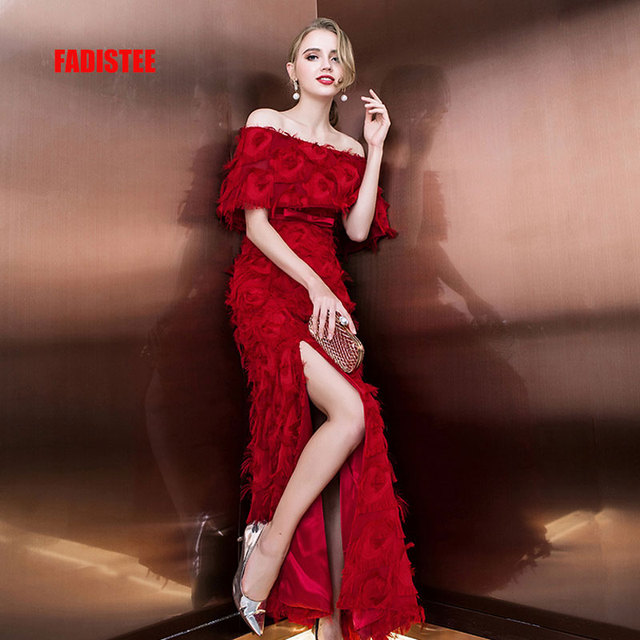 FADISTEE Hot sale evening dresses Burgundy lace frock prom party dress  vestidos de festa boat neck long style sexy side slit 1a0cbdb2b5ac