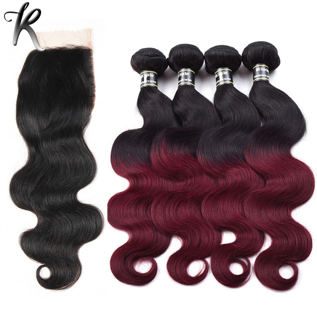 7A Body Wave Brazilian Virgin Hair,4PCS Burgundy Ombre Hair Bundles With 1PC 3Way Middle Free Part Wavy Lace Closure 04B401X